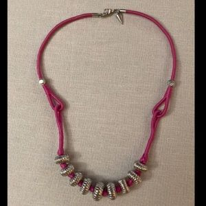 Rebecca Minkoff Pink Cord & Silver Bead Necklace